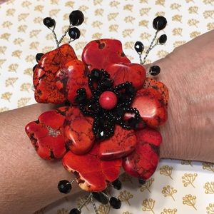 Jewelry - Red Orange Flower Bracelet NEW